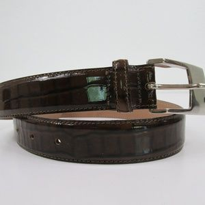 Doncaster Leather XS Brown Belt Silver Buckle